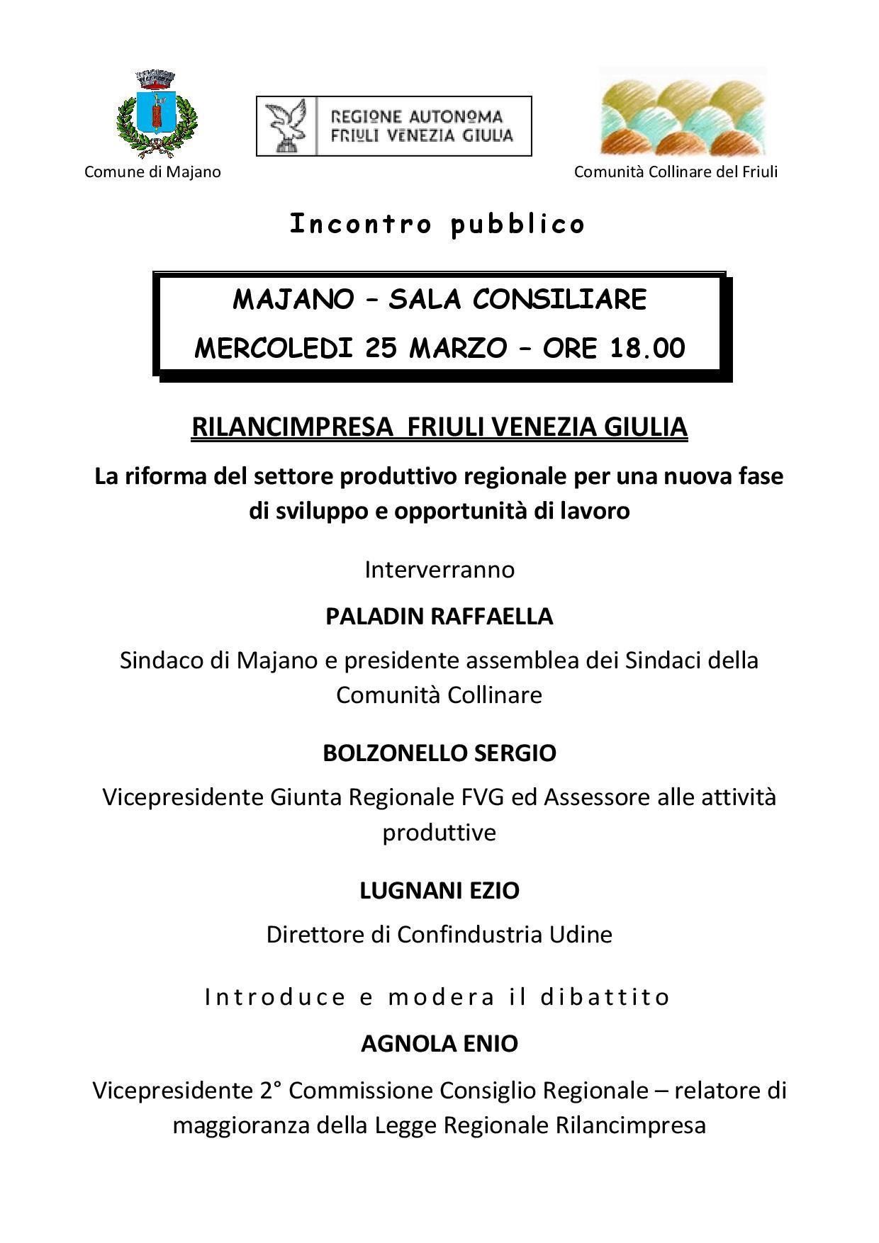 INCONTRO PUBBLICO CON IL VICEPRESIDENTE REGIONALE SERGIO BOLZONELLO