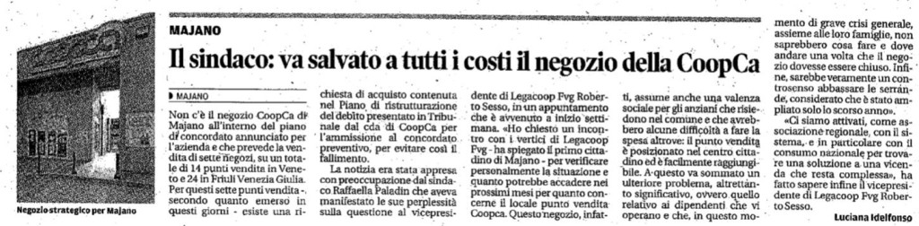 Allarme CoopCa-Majano: la preoccupazione del sindaco sul Messaggero Veneto